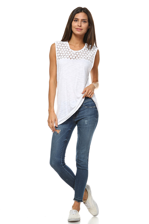 Lace Tank Top - White