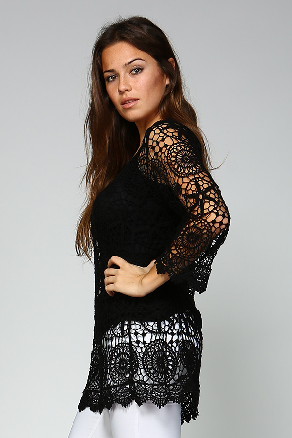 100% Cotton Crochet Tunic Top With Lining - Black