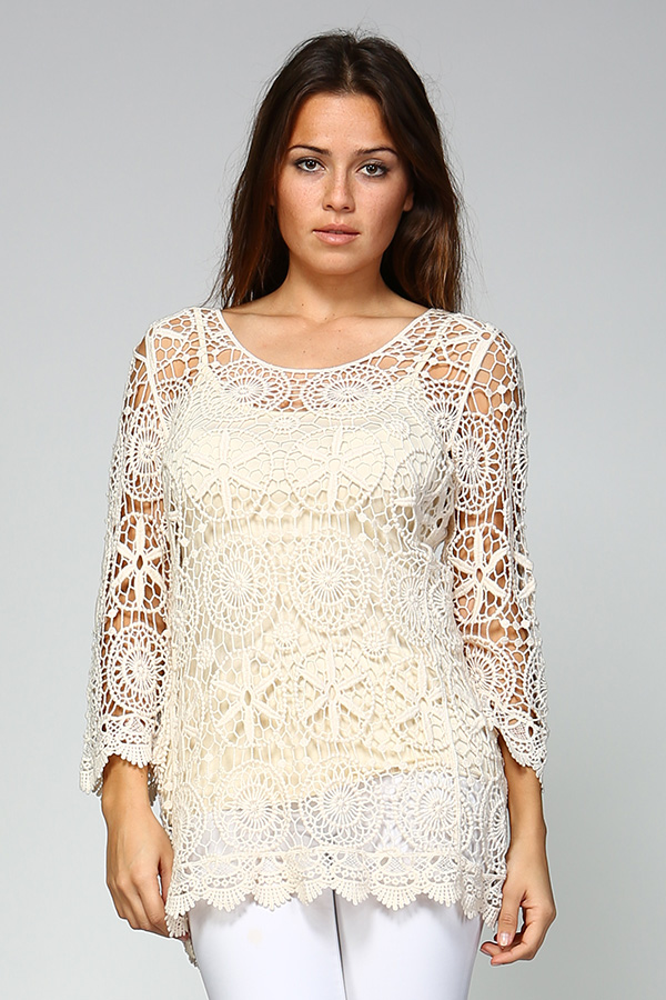 100% Cotton Crochet Tunic Top With Lining - Natural