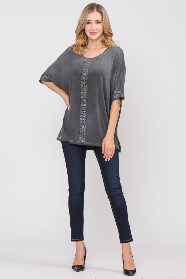 95% Cotton 5% Spandex Tunic Top - Charcoal