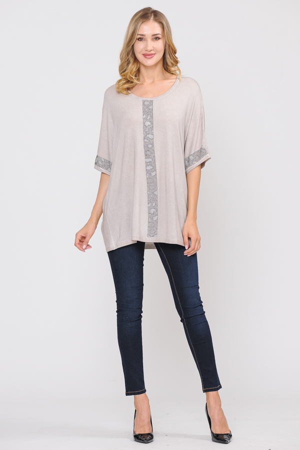 Trim Tunic Top - Natural
