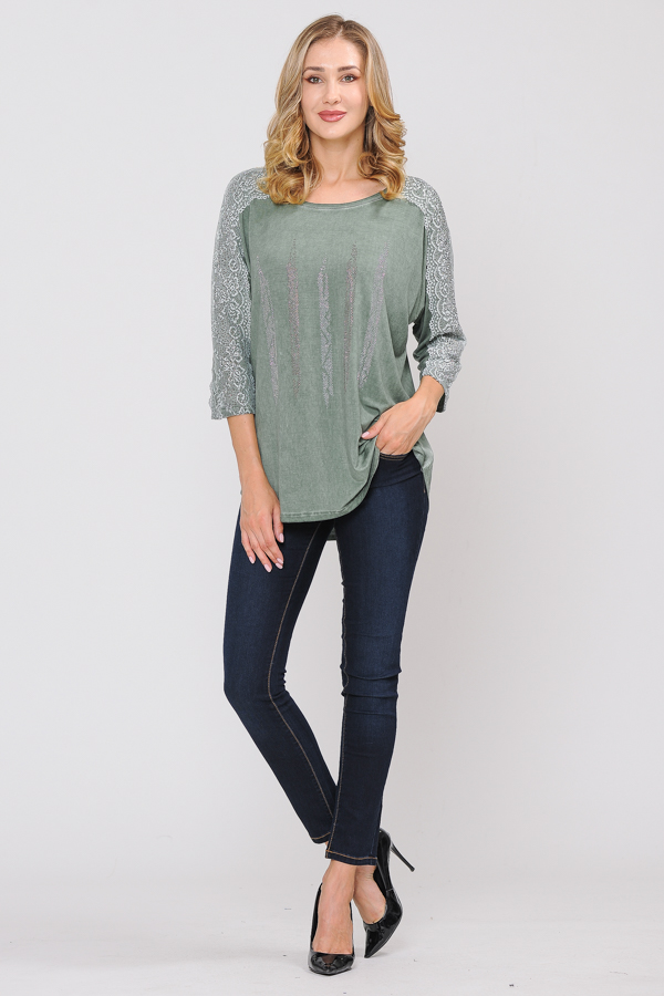 Trim Tunic Top - Green