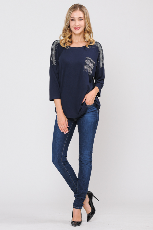 95% Cotton 5% Spandex Tunic Top - Navy