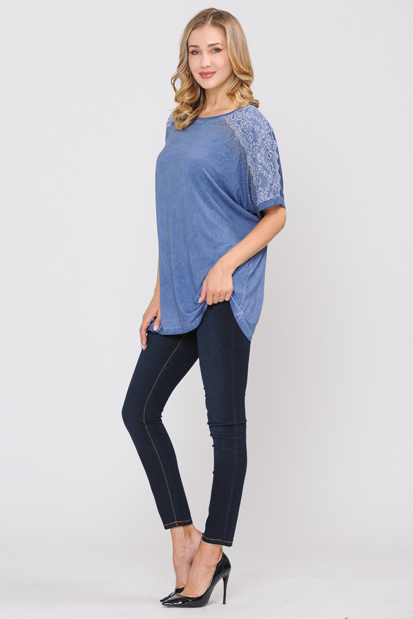 Trim Tunic Top - Denim Blue